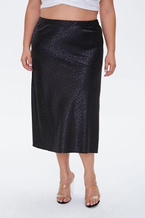 BLACK Plus Size Leopard Print Skirt, image 2