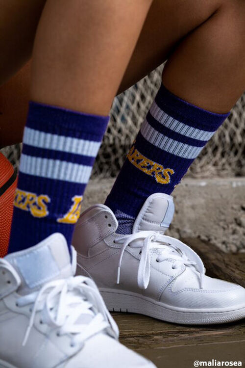 Women Striped Lakers Crew Socks, image 1