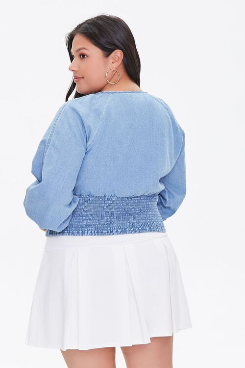 Plus Size Smocked Chambray Top, image 3