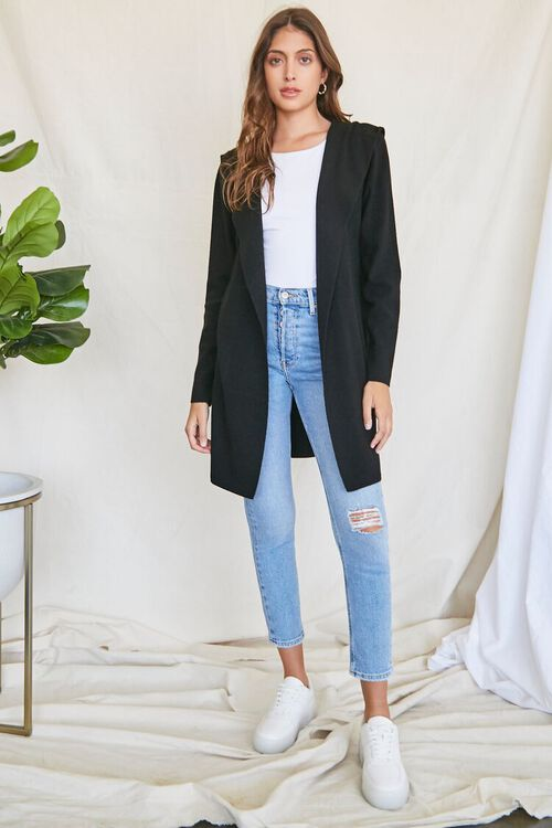 BLACK Open-Front Cardigan Sweater, image 4