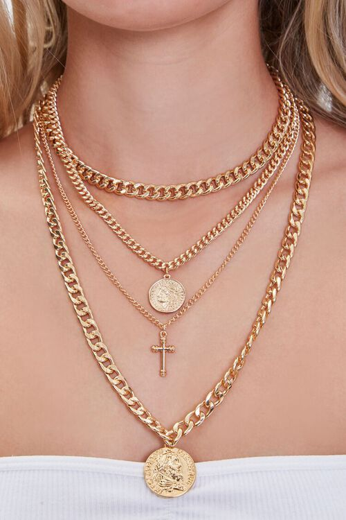 GOLD Ancient Coin & Cross Pendant Layered Necklace, image 1
