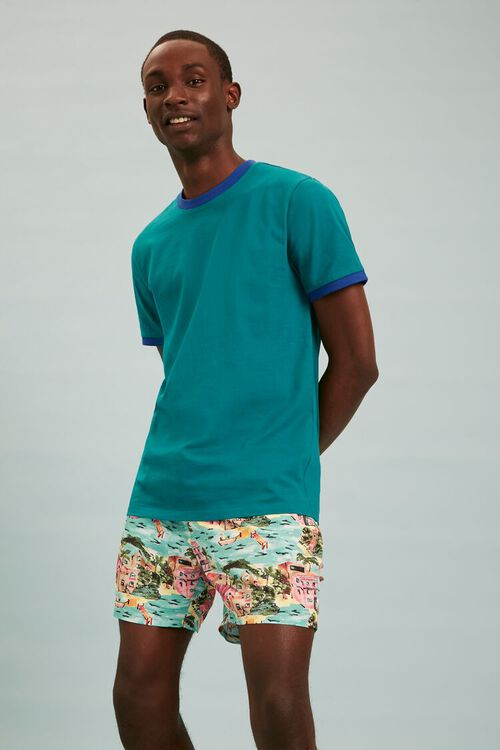 Tropical Print Swim Trunks, image 1