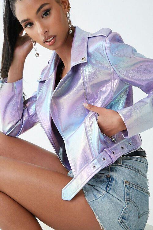 PURPLE/MULTI Iridescent Moto Jacket, image 1
