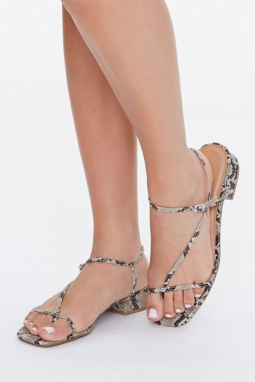 Faux Snakeskin Toe-Loop Block Heels, image 1