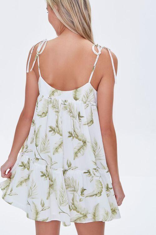 CREAM/GREEN Leaf Print Mini Dress, image 3