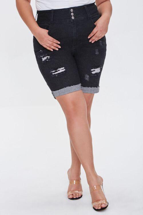 Plus Size Denim Bermuda Shorts, image 2