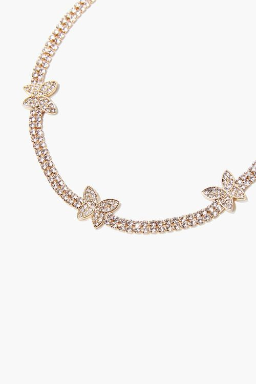 Rhinestone Butterfly Charm Choker Necklace, image 1