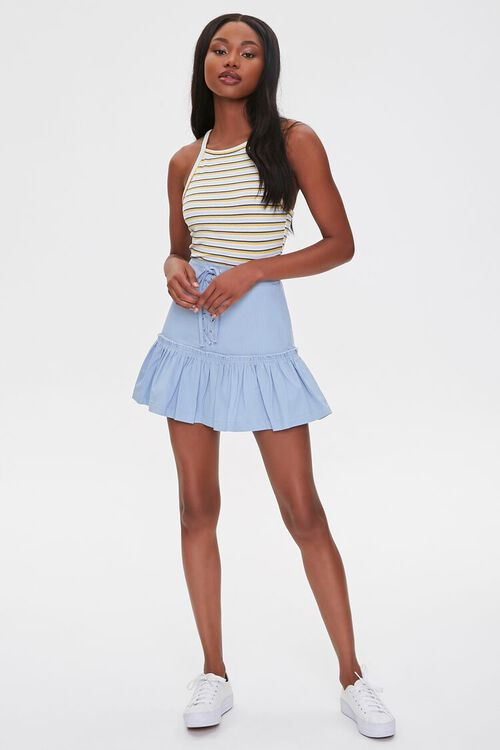 Lace-Up Flounce-Trim Skirt, image 5