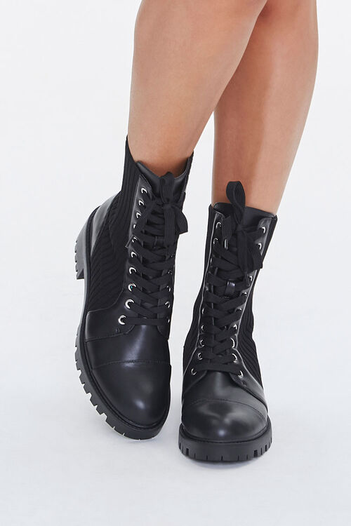Faux Leather Lace-Up Booties, image 4