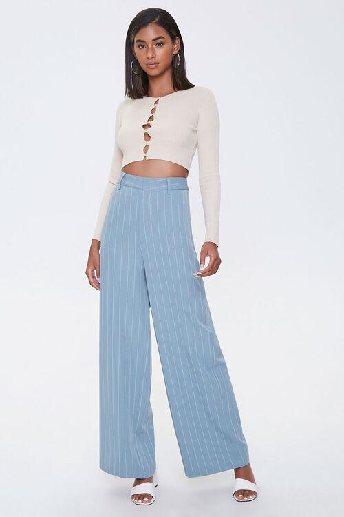 Pinstriped Wide-Leg Pants, image 5