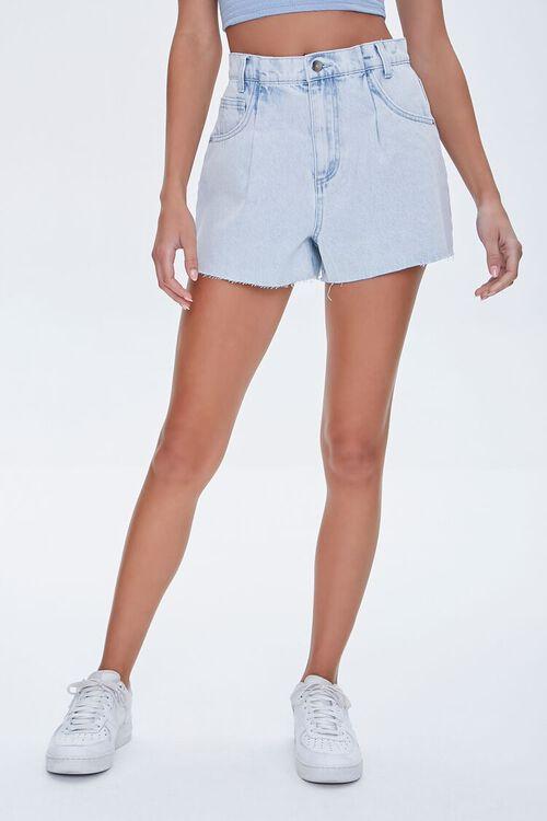 LIGHT DENIM Raw-Cut Denim Shorts, image 2