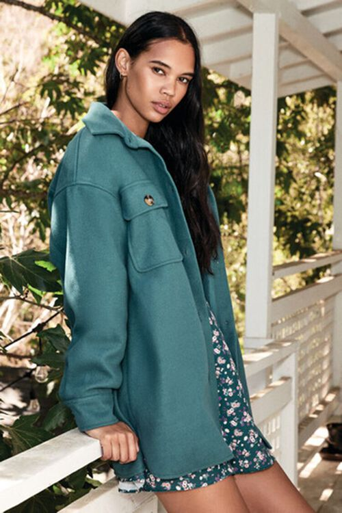 GREEN Oversized Button-Front Shacket, image 1