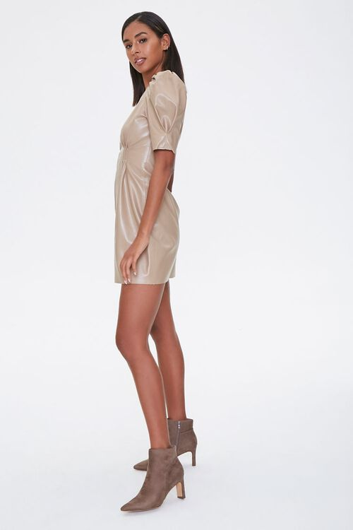 Faux Leather Puff-Sleeve Dress, image 2