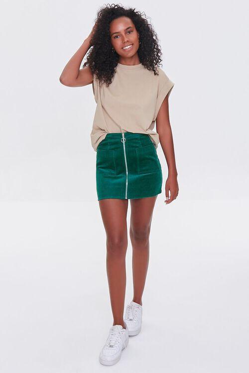HUNTER GREEN Corduroy Zip-Front Mini Skirt, image 5