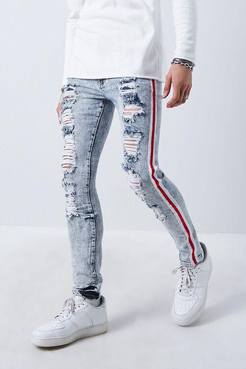 MEDIUM DENIM/MULTI Side-Striped Distressed Jeans, image 1