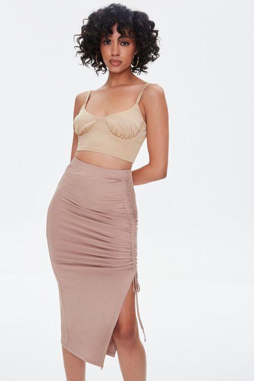 Ruched Drawstring Bodycon Midi Skirt, image 6