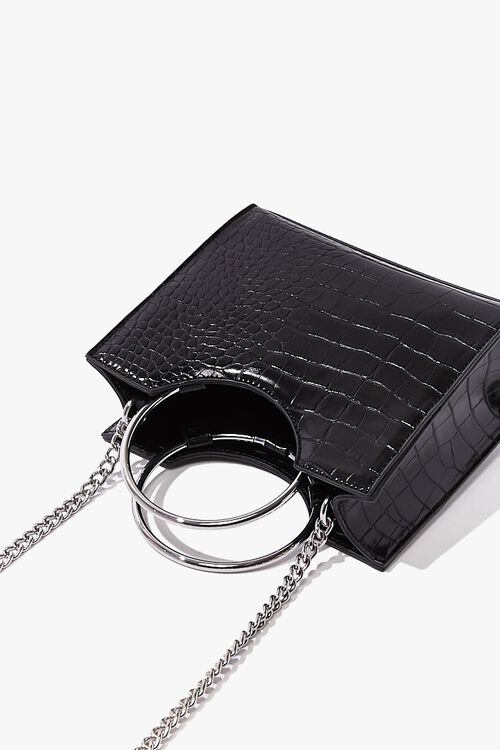 Mini Faux Croc Leather Satchel, image 3