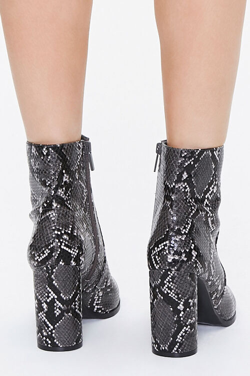 Faux Snakeskin Block Heel Booties, image 3