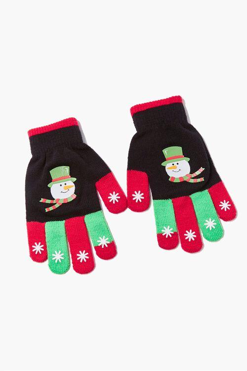 Men Snowman Graphic Touchscreen Gloves, image 1