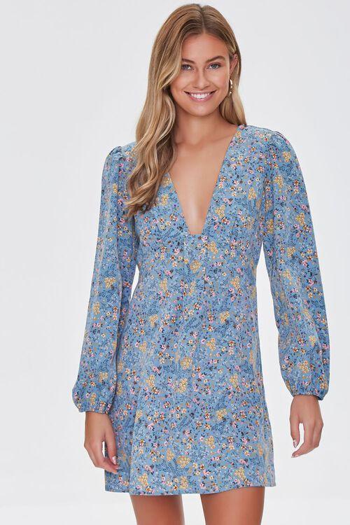 BLUE/MULTI Floral Print Mini Dress, image 1