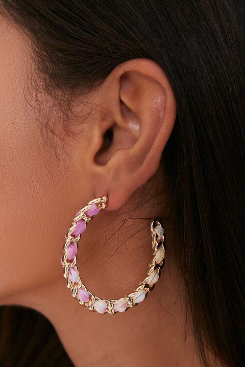 Curb Chain Ribbon Hoop Earrings, image 1