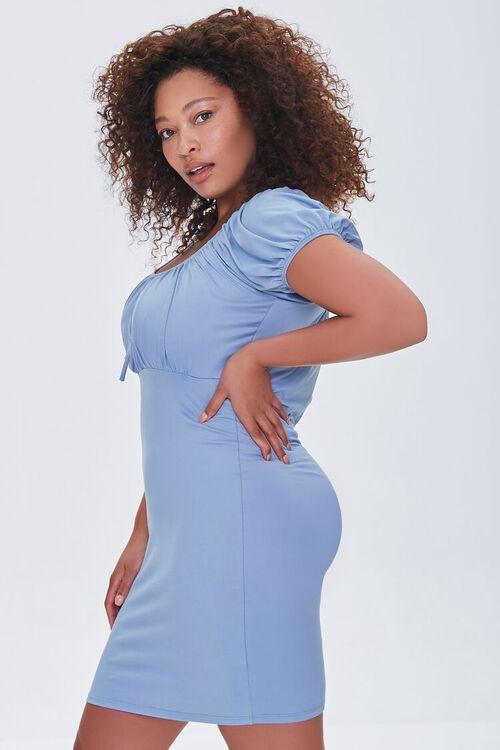 DUSTY BLUE Plus Size Square-Neck Mini Dress, image 2