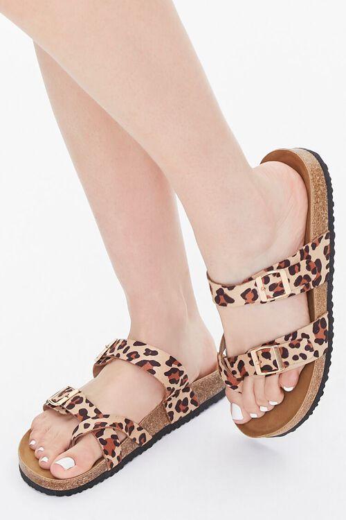 Buckled Leopard Print Flatform Sandals, image 1