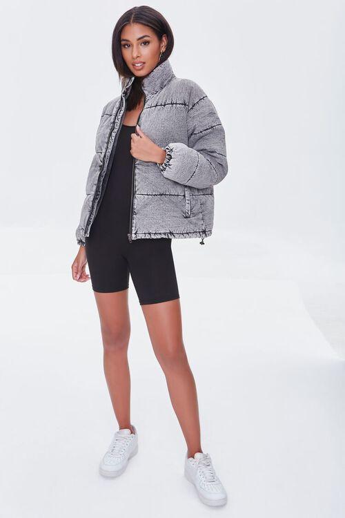 WASHED BLACK Denim Zip-Up Puffer Jacket, image 4