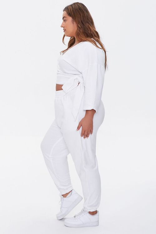 Plus Size Wrap Top & Joggers Set, image 2