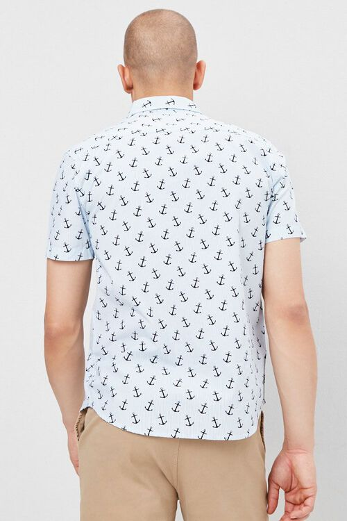 Fitted Pinstriped Anchor Print Shirt, image 3