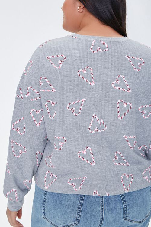 HEATHER GREY/MULTI Plus Size Candy Cane Heart Top, image 3