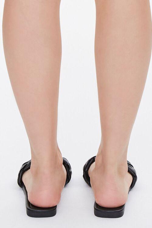 BLACK Basketwoven Faux Leather Sandals, image 3