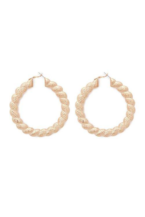 Etched Twisted Hoop Earrings, image 1