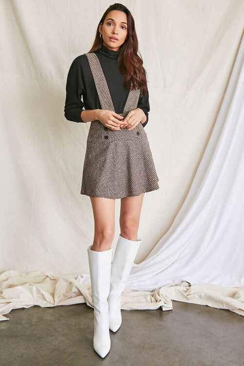 BROWN/MULTI Double-Breasted Mini Pinafore Dress, image 4
