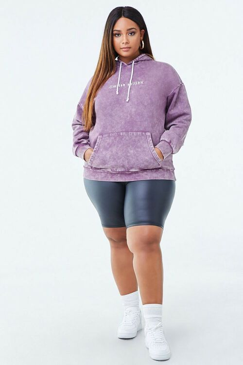 PURPLE/WHITE Plus Size Limited Edition Graphic Hoodie, image 4