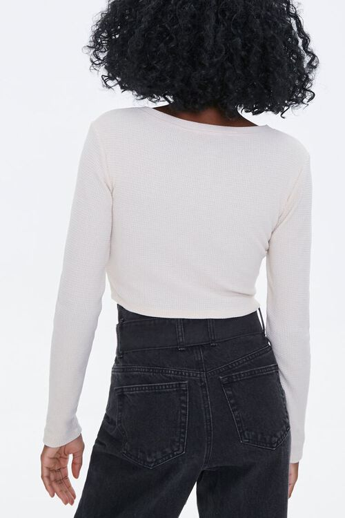 Waffle Knit Henley Crop Top, image 3
