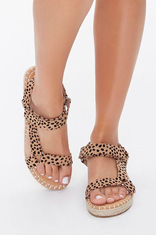 BLACK/BROWN Cheetah Print Espadrille Flatform Sandals, image 2