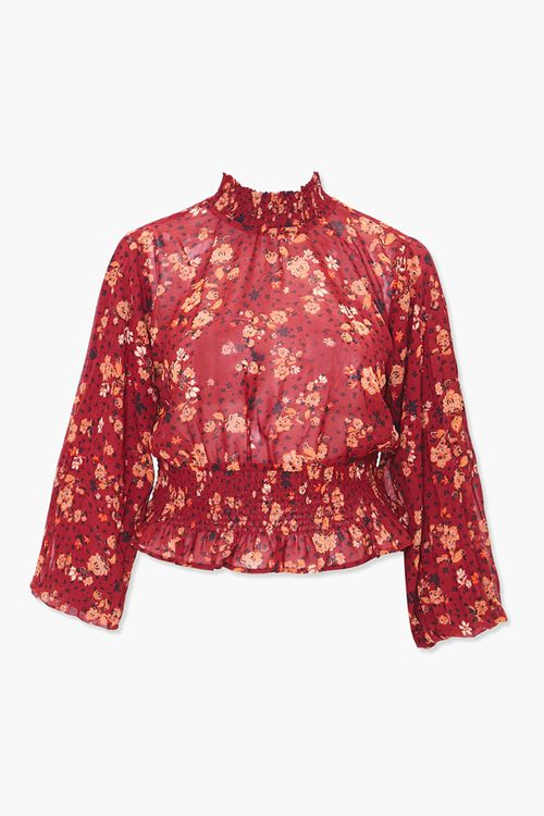 Plus Size Smocked Floral Top, image 1
