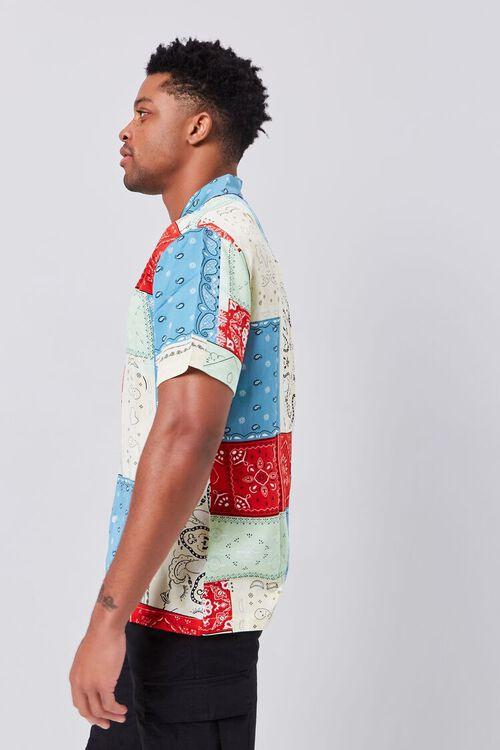 BLUE/MULTI Patchwork Bandana Print Fitted Shirt, image 2