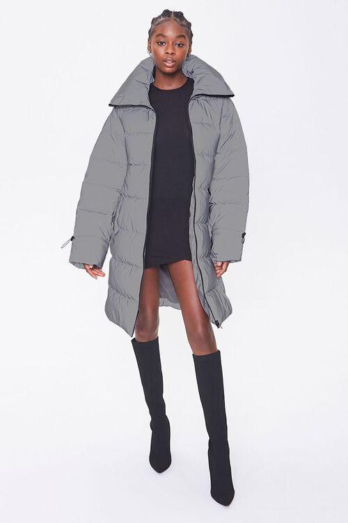 Longline Zip-Up Puffer Jacket, image 1