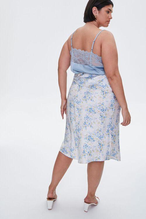 Plus Size Satin Floral Midi Skirt, image 4