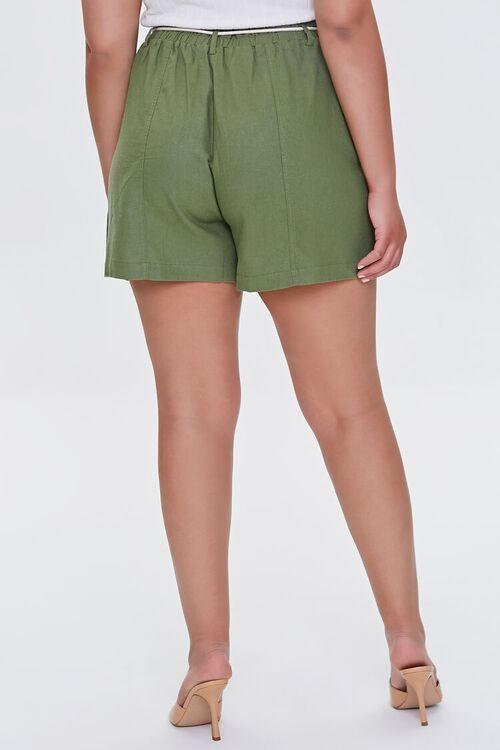 Plus Size Paperbag Linen-Blend Shorts, image 4