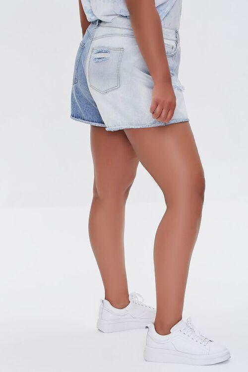 Plus Size Bleached Denim Shorts, image 3