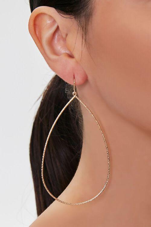GOLD Teardrop Pendant Drop Earrings, image 1