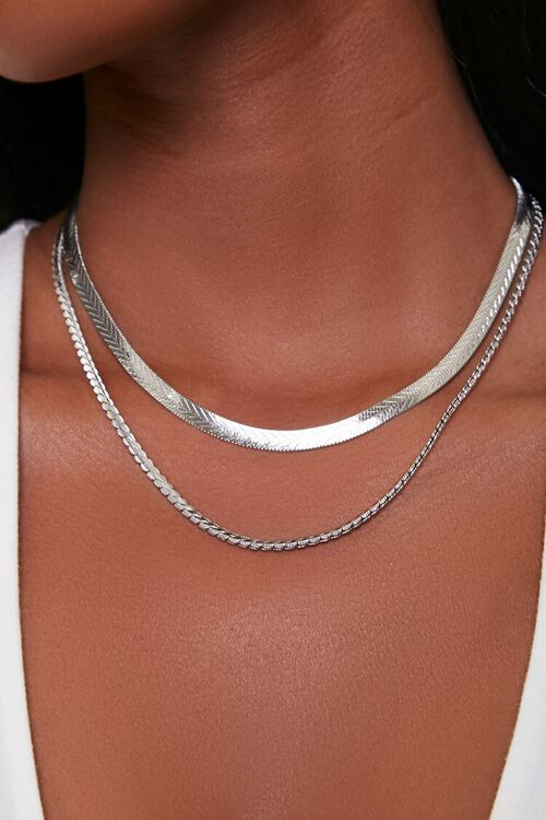 SILVER Serpentine Layered Necklace, image 1
