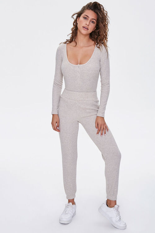 Ribbed Knit Henley Bodysuit, image 4