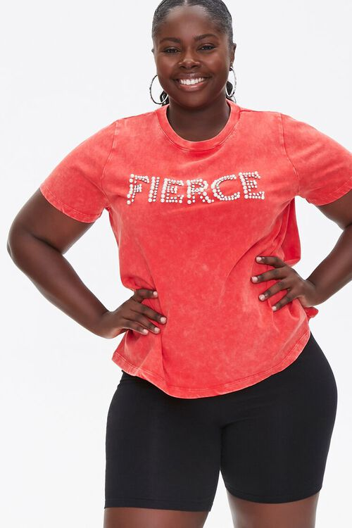 RED/MULTI Plus Size Fierce Graphic Tee, image 1