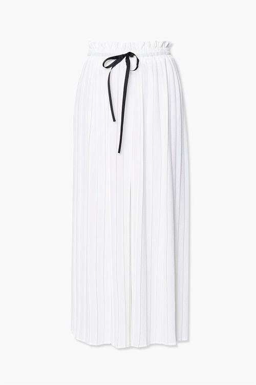 WHITE/BLACK Pleated Drawstring Culottes, image 1
