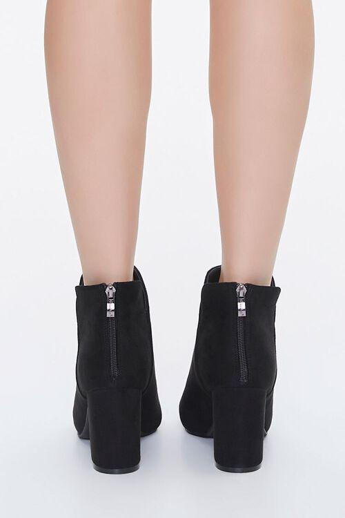 Faux Suede Notched Block Heel Booties, image 3