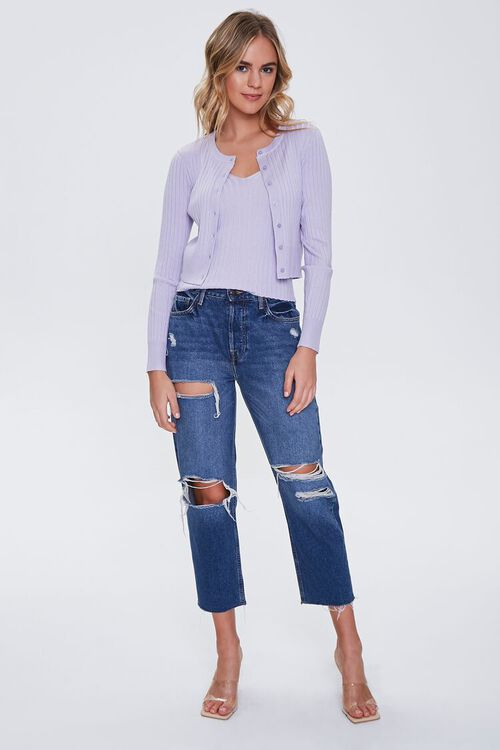 Ribbed Cardigan Sweater & Cami Set, image 4
